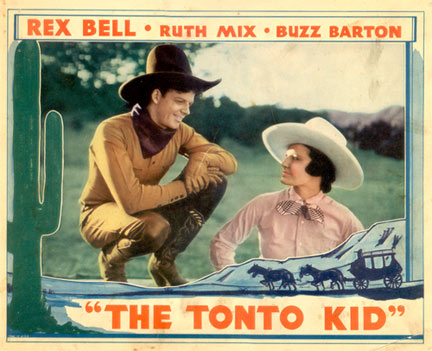 "Rex Bell and Ruth Mix in ""Tonto Kid""."