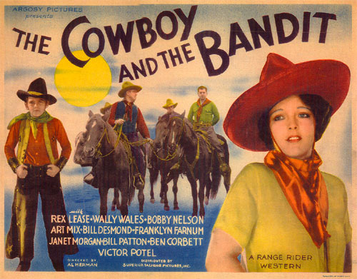 "Title Card for ""The Cowboy and the Bandit"" starring Rex Lease."
