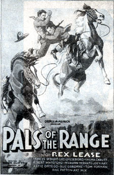 "Newspaper ad for ""Pals of the Range"" starring Rex Lease."