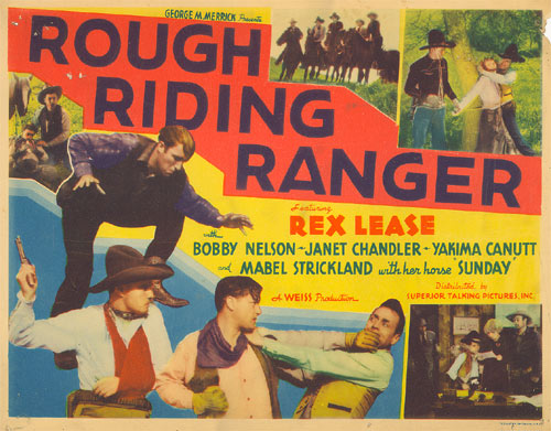 "Title Card for ""Rough Riding Ranger"" starring Rex Lease."