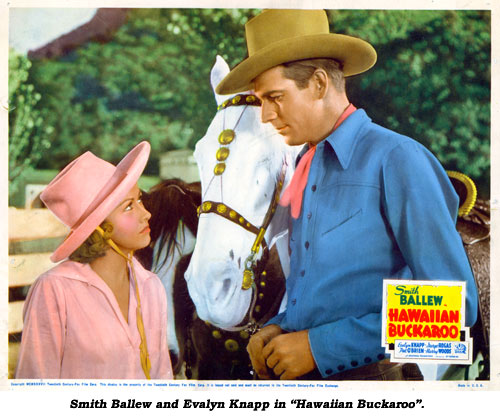 "Smith Ballew and Evalyn Knapp in ""Hawaiian Buckaroo""."