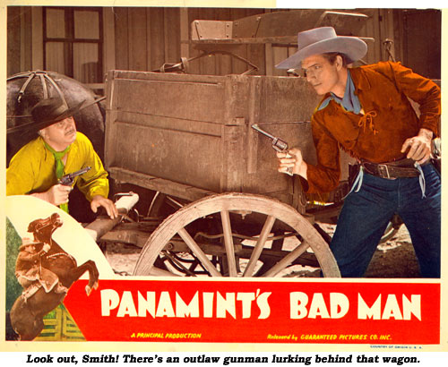 Look out, Smith! There's an outlaw gunman lurking behind that wagon.