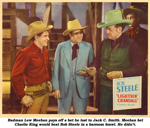 "Badman Lew Meehan pays off a bet he lost to Jack C. Smith. Meehan bet Charlie King would beat Bob Steele in a barroom brawl. He didn't. Scene card from ""Lightnin' Crandall""."