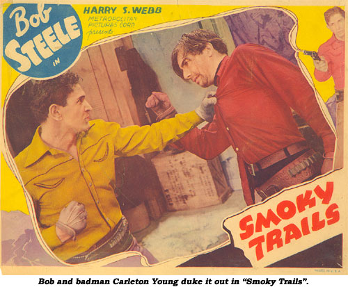 "Bob and badman Carleton Young duke it out in ""Smoky Trails""."