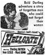 "Newspaper ad for ""Hellgate""."