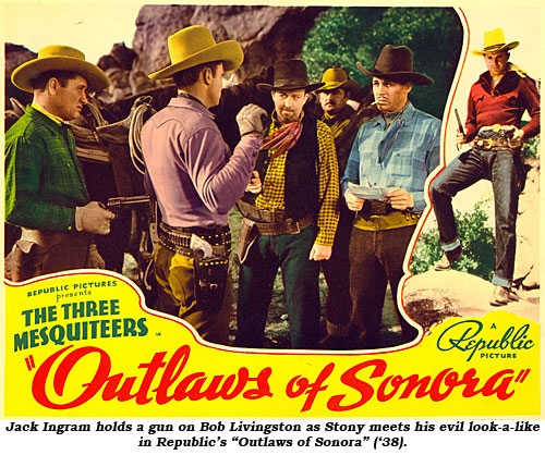 "Jack Ingram holds a gun on Bob Livingston as Stony meets his evil look-a-like in Republic's ""Outlaws of Sonora"" ('38)."