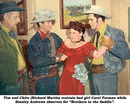 "Tim and Chito (Richard Martin) restrain bad girl Carol Forman while Stanley Andrews observes for ""Brothers in the Saddle""."