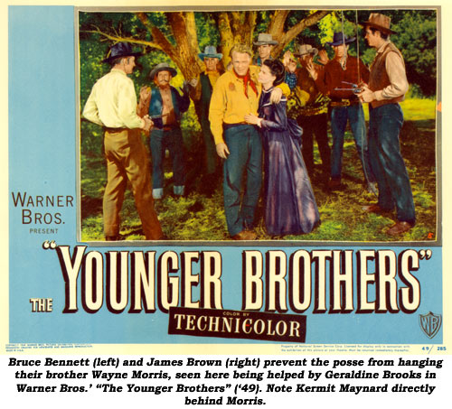 "Bruce Bennett (left) and James Brown (right) prevent the posse from hanging their brother Wayne Morris, seen here being helped by Geraldine Brooks in Warner Bros.' ""The Younger Brothers"" ('49). Note Kermit Maynard directly behind Morris."