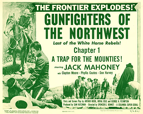 "Title card for Chapter 1 of ""Gunfighters of the Northwest"" starring Jock Mahoney."