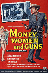 "Poster for ""Money, Women and Guns"" starring Jock Mahoney."