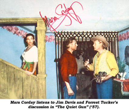 """Mara Corday listens to Jim Davis and Forrest Tucker's discussion in """"The Quiet Gun"""" ('57)."""